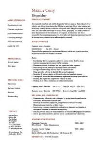 Dispatcher Resume by Dispatcher Resume Driver Templates Description