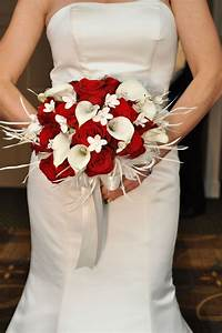 White Calla Lily and Red Rose Bridal Bouquet
