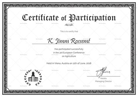 conference certificate of participation template conference participation certificate design template in psd word