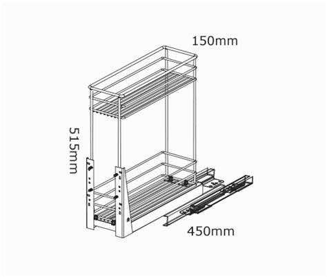 200mm Pullout Baskets 2 Tier Soft Close   kaboodle kitchen