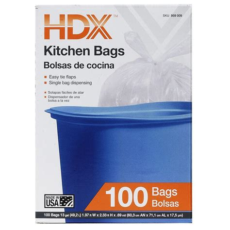 hdx  gal waste liner clear trash bags  count hdx