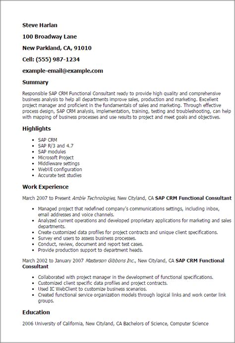 Sap Crm Testing Resume by Professional Sap Crm Functional Consultant Templates To Showcase Your Talent Myperfectresume