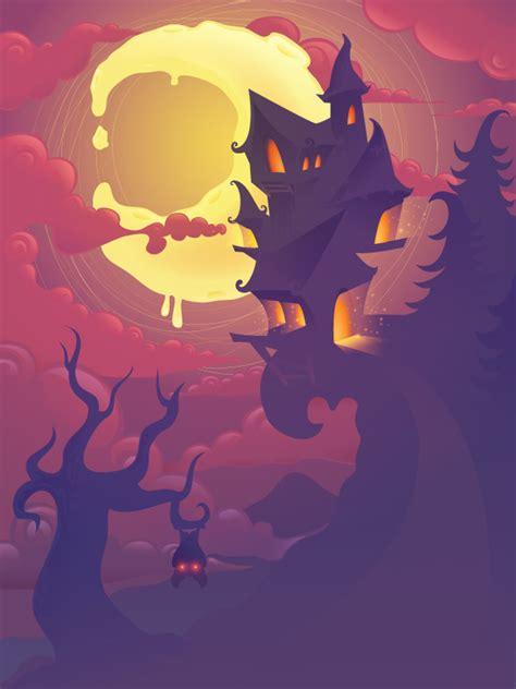 create  mysterious halloween scene  adobe illustrator