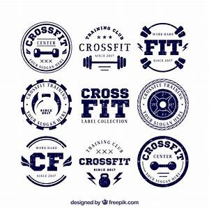 Collection of retro crossfit stickers Vector   Free Download