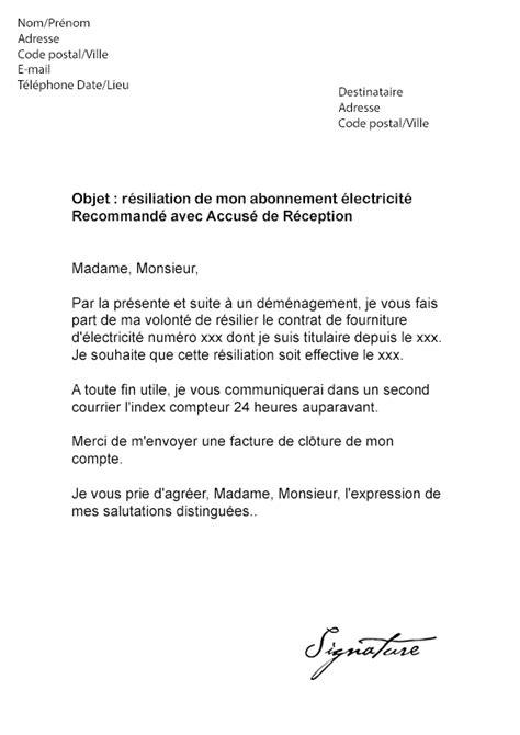modele lettre depart retraite edf exemple lettre resiliation edf