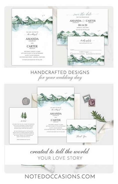 Mountain Wedding Invitations Template Watercolor Forest Lake