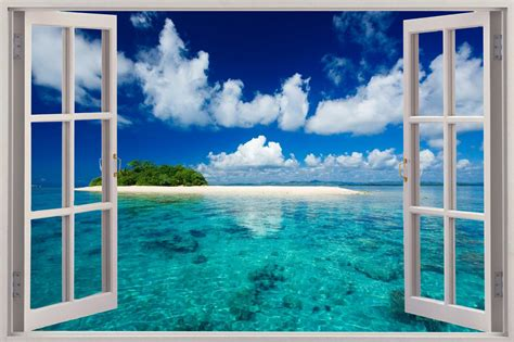 3d Window Ocean View Blue Sea Home Decor Wall Sticker: Huge 3D Window Exotic Beach View Wall Sticker Mural Art