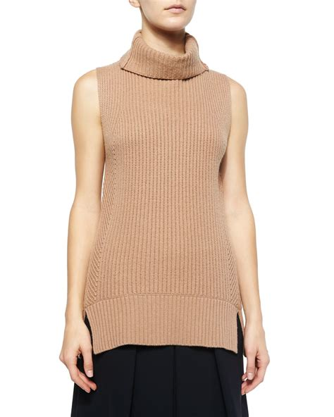 sleeveless turtleneck sweater vince ribbed sleeveless turtleneck sweater in brown