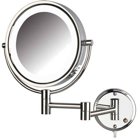 jerdon hl88cl 8 5 quot led lighted wall mount makeup mirror with 8x magnification chrome finish