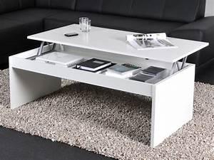 Table basse rectangulaire en bois l120cm avec plateau for Deco cuisine pour table basse relevable