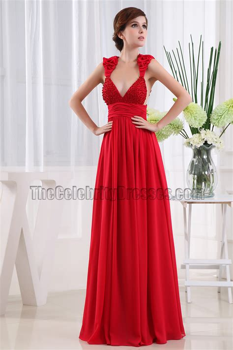 Sexy Red Deep Vneck Backless Evening Dress Prom Gown