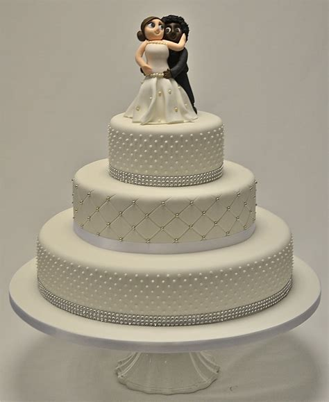 3 Tier Piped Dots And Diamante Wedding Cake Wedding