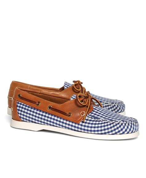Brooks Brothers Boat Shoes by Lyst Brooks Brothers Gingham Boat Shoes In Blue For Men