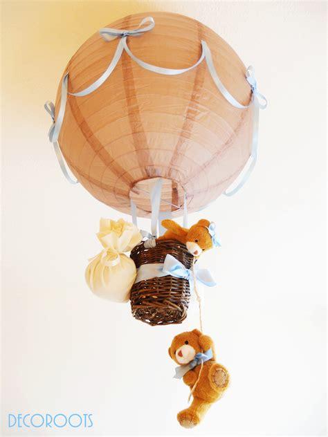 abat jour chambre bébé garçon le suspension montgolfière ours garçon taupe bleu