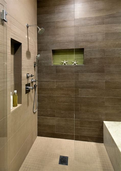 Wood Tiles In Bathroom by Wood Plank Tile Bathroom With Built In Shower Bench