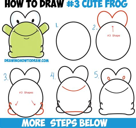 draw cute cartoon baby frog  number  shape