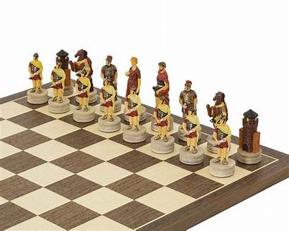 Chess Romans Greeks Italfama Painted Hand Sets