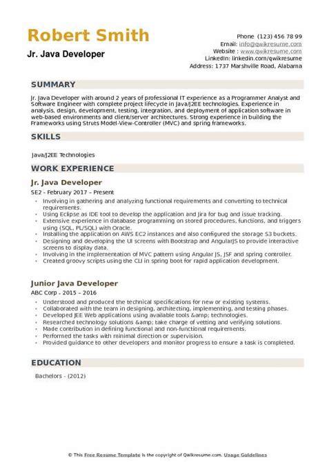 Resume Sles Pdf junior java developer resume summary the best developer
