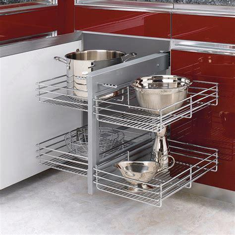 armoire en coin cuisine système coulissant réversible pour armoire de coin