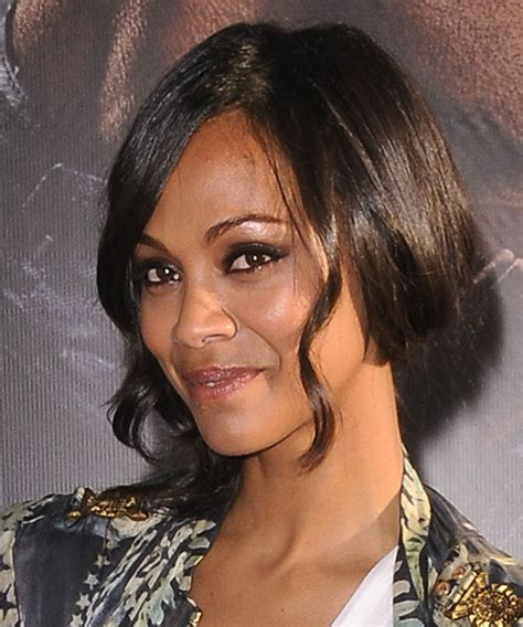 zoe saldana medium curly black   hairstyle  side