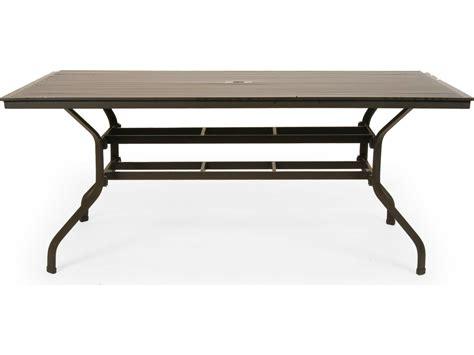 outdoor dining table with umbrella hole caluco san michele aluminum 96 x 42 rectangular metal