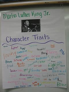 character trait anchor charts  martin luther king