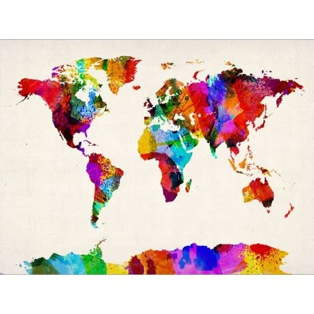 color world abstract painting world map canvas print