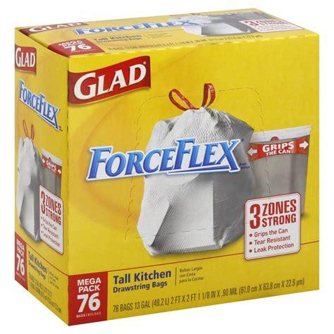 kitchen trash bags glad forceflex kitchen drawstring trash bags 13 gal