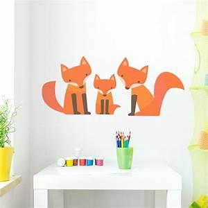 Fox, Family, Wall, Decal