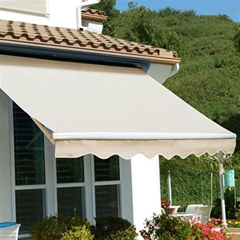 xtremepowerus patio manual retractable sun shade awning tan    awnings patio
