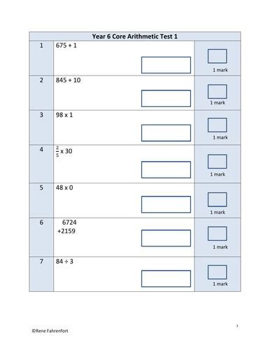 year 6 core arithmetic 10 tests by rene talliard teaching resources