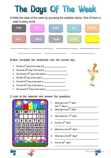 days of the week skills worksheets