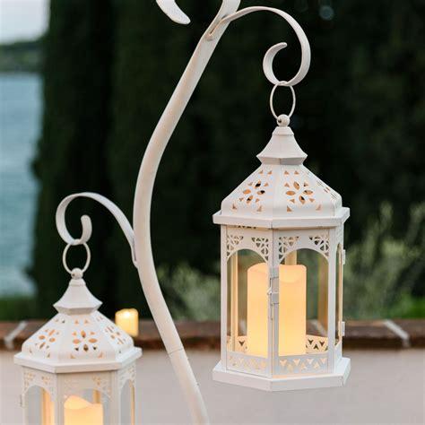 Lanterne A Candela by Lanterna In Vetro E Metallo Bianco H 34 Cm Con Candela