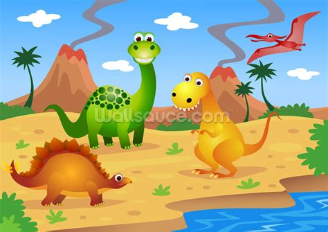 Fun Dinosaurs Wallpaper Wall Mural