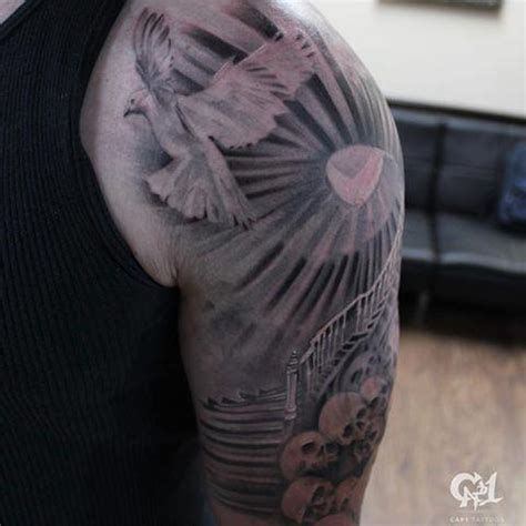 Heaven And Angel Sleeve Tattoos