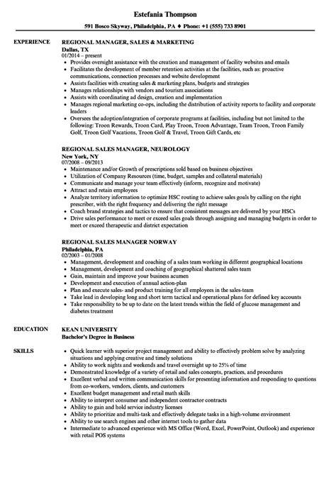 Regional Manager Sales Resume Samples | Velvet Jobs