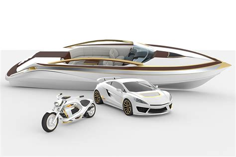 Motorcycle Boat by This Gold White Matching Boat Car And Motorcycle Is A
