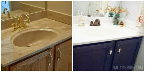 Refinishing Brass Bathroom Fixtures by Painted Bathroom Sink And Countertop Makeover