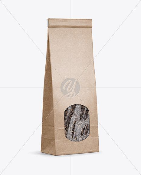 All free mockups include smart objects for easy edit. Download Kraft Paper Bag With Window Mockup - Half Side ...
