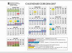 CALENDARI ESCOLAR CURS 201617 Escola El Serrallo