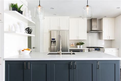 white kitchen  navy island contemporary kitchen