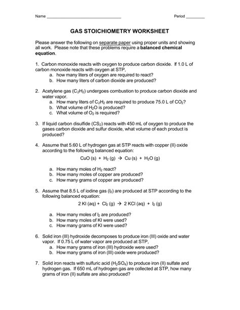 Collection Of Stoichiometry Worksheet Answers With Work Bluegreenish