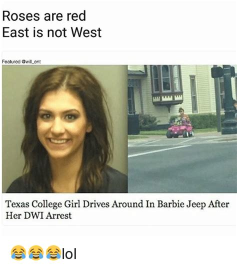 College Girl Meme - roses are red east is not west featured ent texas college girl drives around in barbie jeep