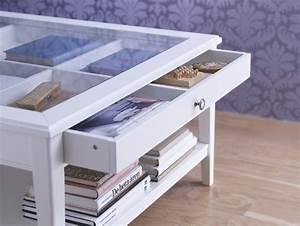Liatorp coffee table white glass liatorp coffee and for Coffee table with storage and glass top