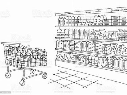 Grocery Sketch Coloring Graphic Interior Bread Cartoon