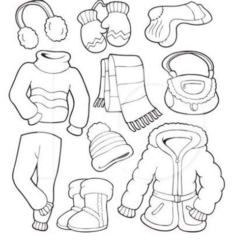 winter clothes coloring page   kids coloring
