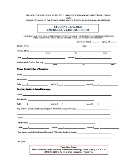8 emergency contact form sles exles templates