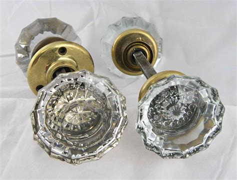 antique extra large fluted glass door knob set