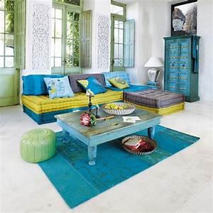 banquette canape d39angle 6 places modulable bleu vert With tapis oriental avec maison du monde canapé 2 places