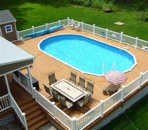 Above Ground Oval Pool with Deck